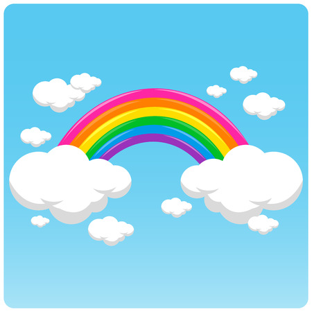 Vector illustration of  a rainbow and clouds in the sky. Stock Illustratie