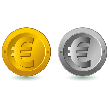 coin: Vector illustration of  Euro coins. Silver and gold Euro coins isolated in white