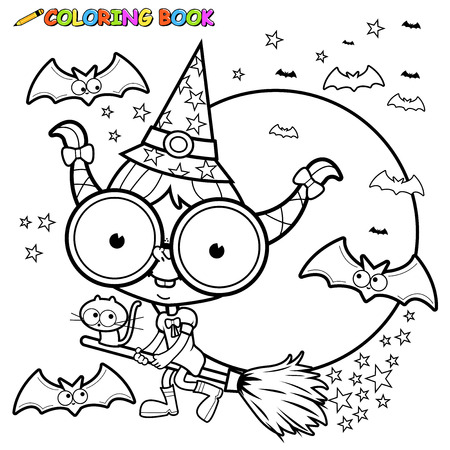 Coloring page Halloween witch flying with broom.