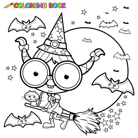 lijntekening: Kleurplaat Halloween heks die met een bezem.