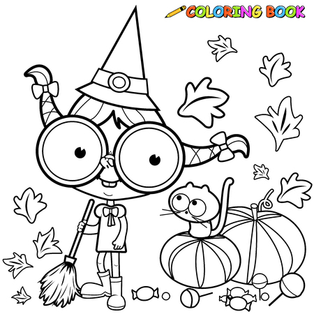 witch on broom: Coloring page Halloween witch sweeping pumpkin leaves .