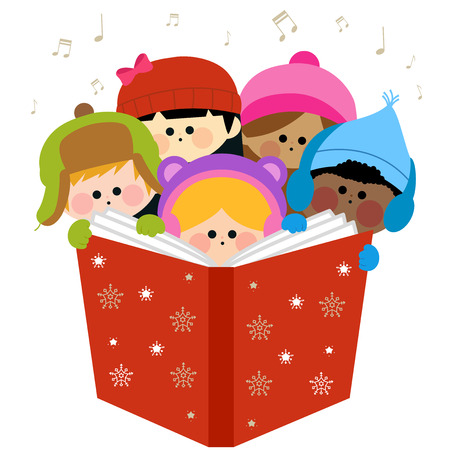 Children singing Christmas carols holding together a large book.