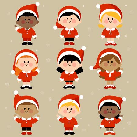 diverse group: Diverse group of children dressed in Christmas Santa Claus costumes Illustration