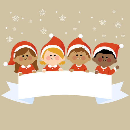 holding sign: Kids dressed in Christmas costumes holding horizontal blank banner. Illustration