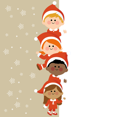 christmas banner: Kids dressed in Christmas costumes holding vertical blank banner