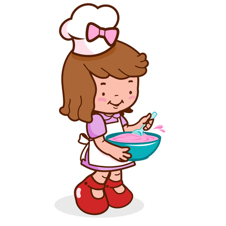 stirring: Vector Illustration of a little girl wearing a chef uniform and cooking