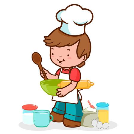 uniforme de chef: Ilustraci�n vectorial de un ni�o peque�o que llevaba un uniforme del cocinero prepara para cocinar