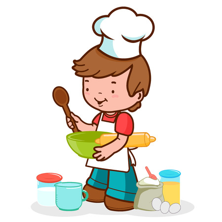 chef uniform: Vector Illustration of a little boy wearing a chef uniform preparing to cook Illustration