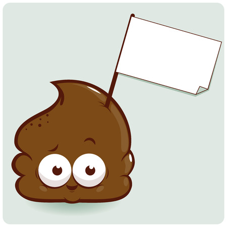 dung: Vector illustration of a shit cartoon holding a blank sign.