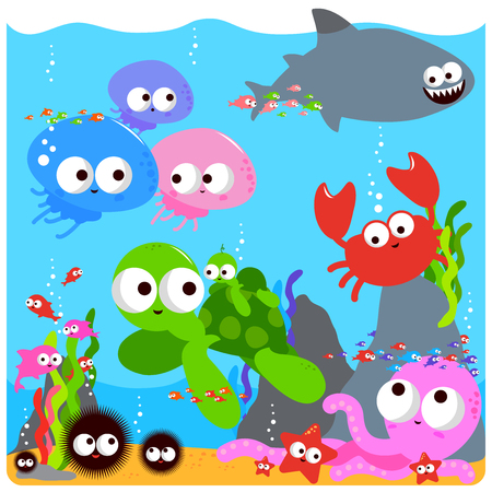 Vector Illustration of colorful sea animals swimming underwater.