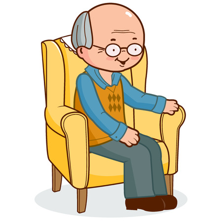 armchair: Old man sitting in armchair