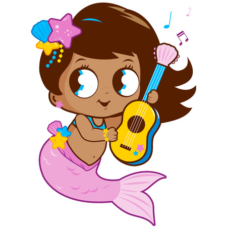 cute baby girls: Cute mermaid playing music with her guitar