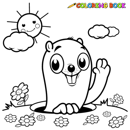 Black and white outline image of a groundhog peeking out of it's hole Çizim