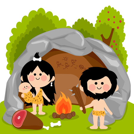 Vector cartoon illustration of a man woman and baby cavemen inside their cave standing next to the fire pit ready to cook the meat