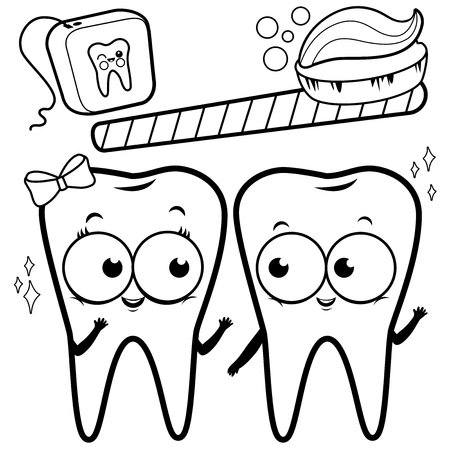 Vector black and white outline image of cute cartoon teeth smiling, a toothbrush and dental floss.
