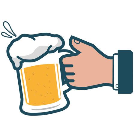 Businessman holding cold beer. Ilustração