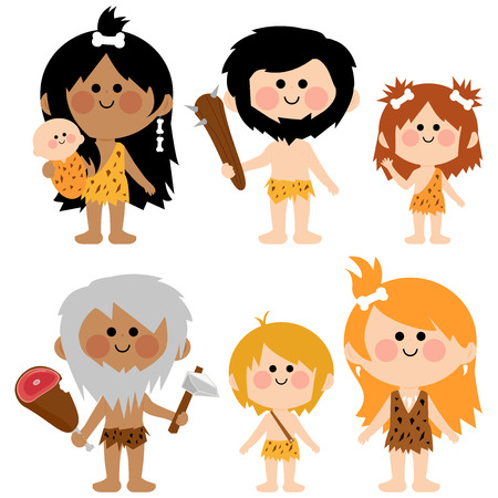 caveman: Vector cartoon illustration set of men women babies and children cavemen wearing fur and animal skins.
