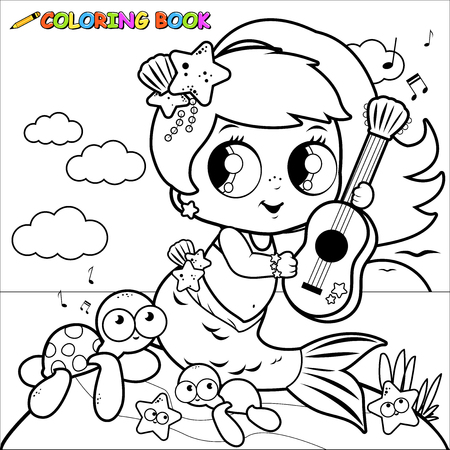 Coloring page mermaid by the sea playing music with her guitar.