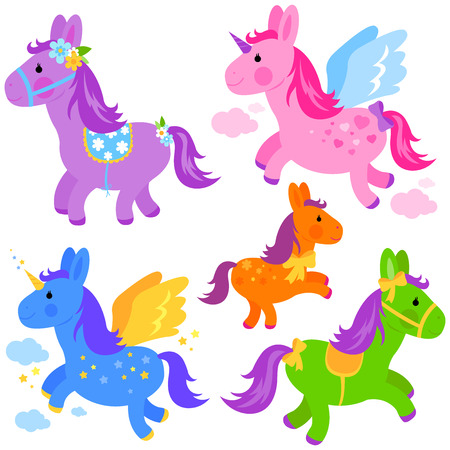 Vector Illustration of cute colorful ponies and unicorns Illustration