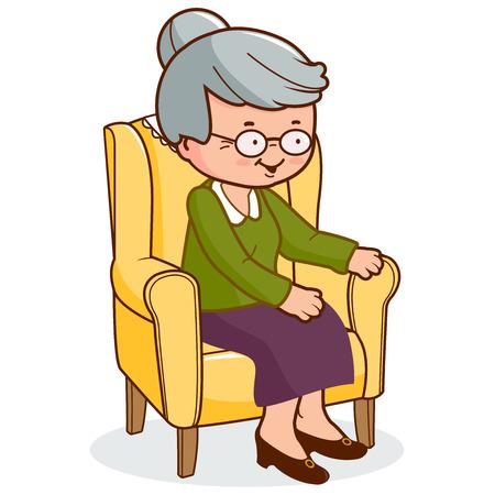 damas antiguas: Mujer mayor que se sienta en el sillón