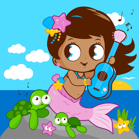cute baby girls: Cute mermaid by the sea playing music with her guitar .