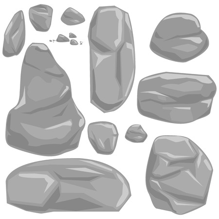 Vector cartoon illustration set of gray rocks and boulders.