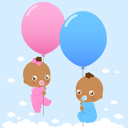 African American twin babies holding balloons .