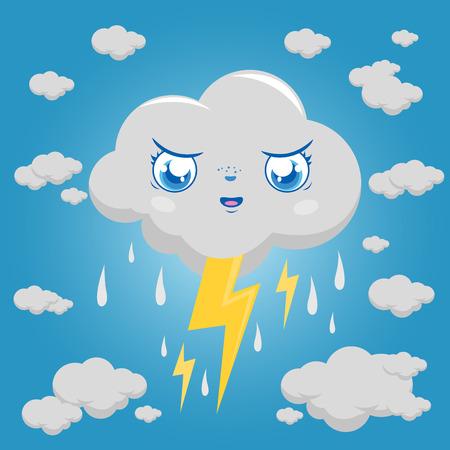 嵐雲文字雨と雷。