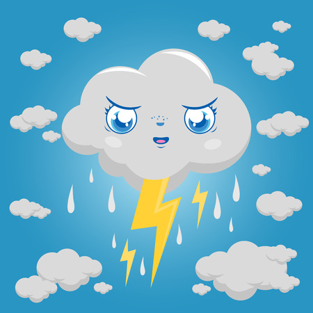 rain cartoon: Stormy cloud character raining and thunder.