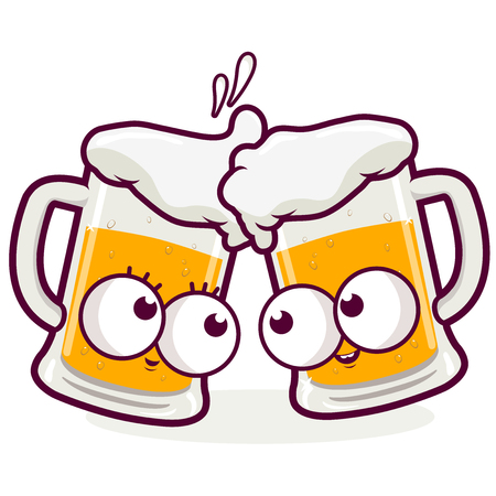 Vector illustration of two beer mug characters toasting