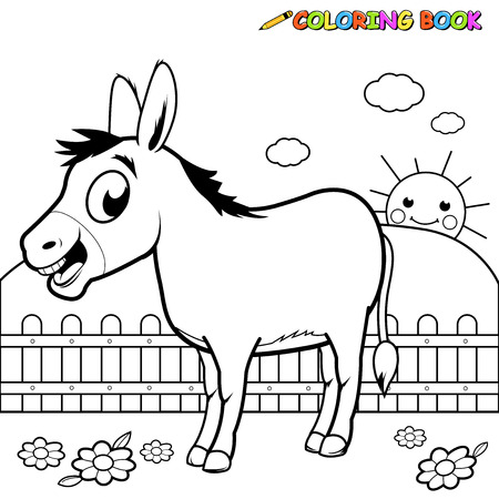 Black and white outline image of a cartoon donkey at the farm.