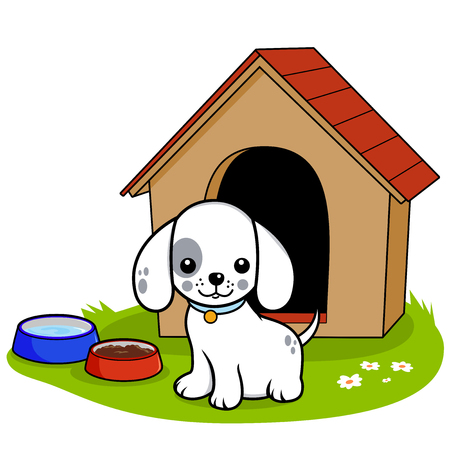 doghouse: Vector illustration of a dog standing outside his doghouse.