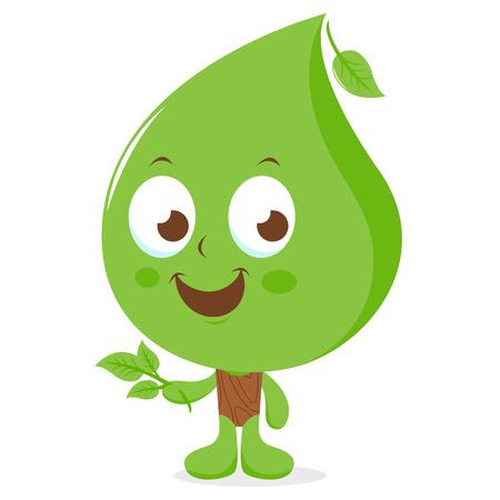 cartoon faces: Vector illustration of a leaf cartoon character.
