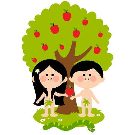 garden of eden: Adam, Eve and the snake under an apple tree. Eve giving apple to Adam.