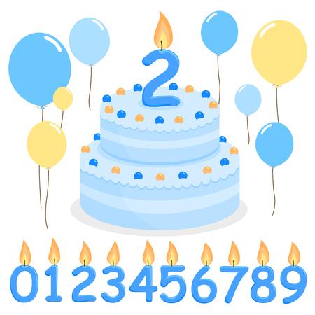 torta compleanno: palloncini blu torta di compleanno e candele Vettoriali