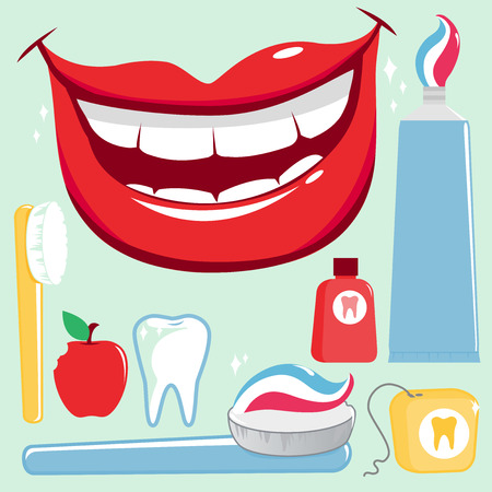 teeth cleaning: Dental hygiene vector set Illustration