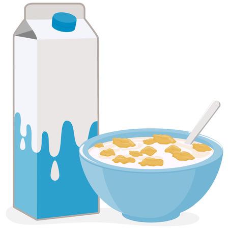 cereal: Ilustración vectorial de un tazón de cereales copos de maíz y un cartón de leche.
