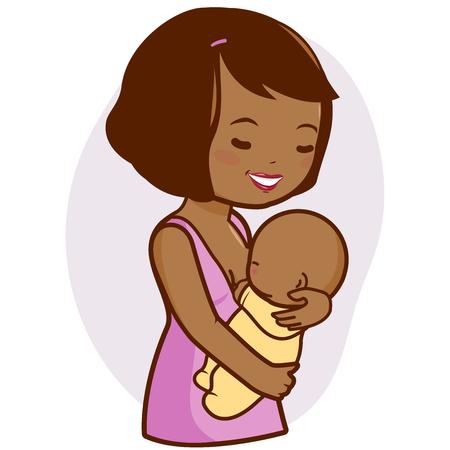 amamantando: Madre africana que amamanta a su bebé Vectores