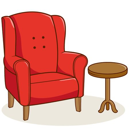 livingroom: Red armchair and a side table on white background, isolated.