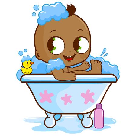 infant bathing: Baby boy taking a bath