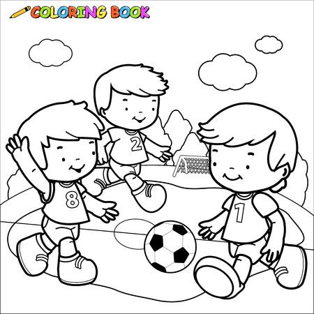 Imagen esquema blanco y negro de tres niños pequeños que juegan al fútbol Foto de archivo - 49125812