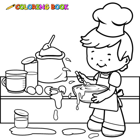 Little boy cooking and making a mess coloring book page. Vectores