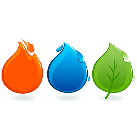 fire and water: Fire, water drop and leaf icons. Illustration