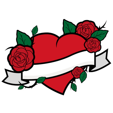 Vector Illustration of tattoo style roses on a red heart and ribbon. Ilustração