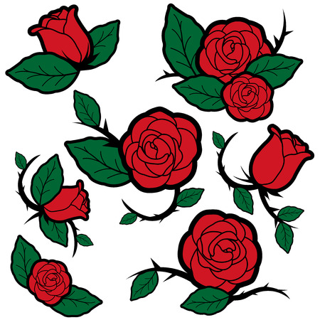 Vector Illustration set of tattoo style roses and buds.