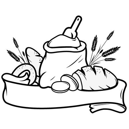 pain: Sac de farine, du pain, de l'orge et de la boulangerie signe bannière Illustration