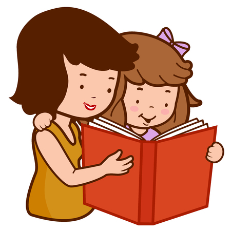 Mother and daughter reading a book. Illustration