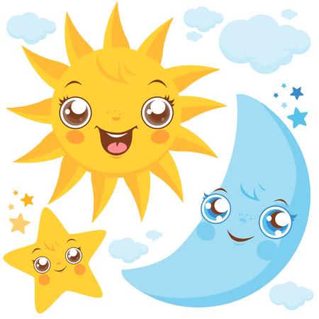 태양 달과 별 일러스트