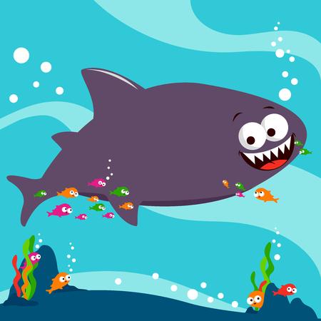 ocean floor: Shark swimming underwater Illustration