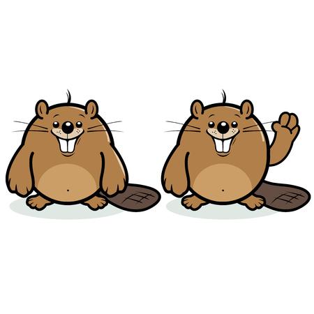 beaver: Cute beaver smiling and waving